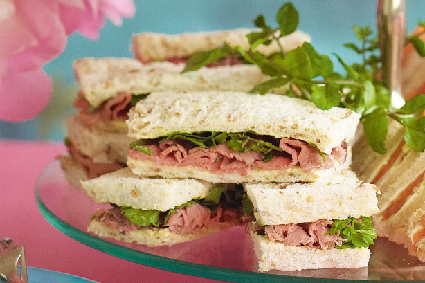 Roast beef and watercress sandwiches